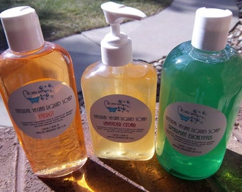 Vegan Liquid Soap, Made from Scratch,  8 ounces - You Choose Scent & Bottle