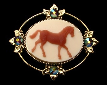 Cameo Brooch or Pendant Horse with Crystal Accents