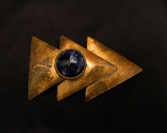 Handcrafted Oxidized Brass Triple Triangle Brooch with Sodalite Cabochon