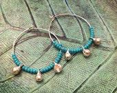 Turquoise Gypsy Hoop Earrings