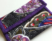 Butterfly Quilted Snap Bag, Small case with snap closure, quilted fabric with purple binding, change purse, card holder