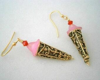 Beaded Earrings in Beads and Metal, Pierced Earwires, Strawberry Sundae Ice Cream Cone OOAK Earrings, Willow Glass