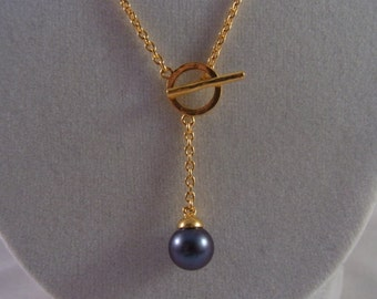 24k .9999 Gold and Tahitian Pearl Lariat Necklace