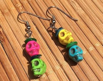 Beatnik Skulls Halloween Earrings