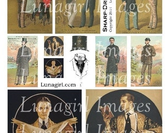 VINTAGE MEN digital collage sheet DOWNLOAD Victorian gentlemen 1920s dapper fashion tophat antique art vintage ephemera Dad Fathers Day card