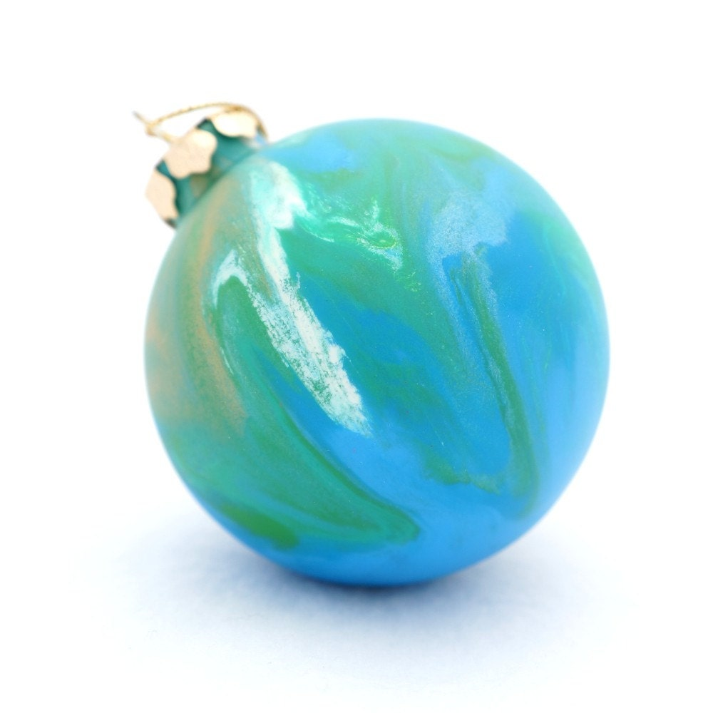 Sea Foam Frosted Glass Christmas Ornament - Hand Painted Inside - Green Blue Ocean Colors