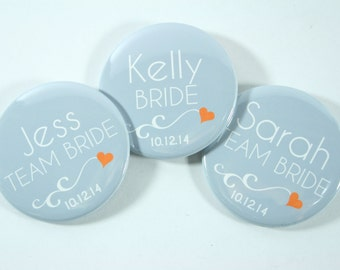 15 Team Bride Bachelorette Buttons, Bridesmaid Buttons in Any Colors