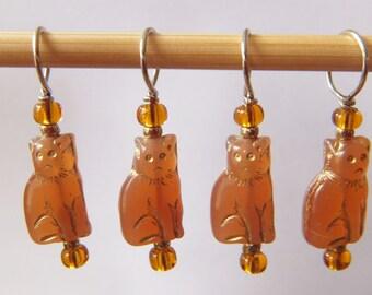 Carnelian Cat Stitch Markers--Set of Six