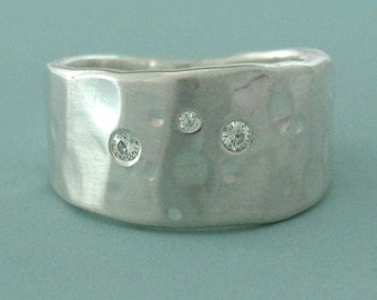 Sterling Silver and Moissanite Ring - Wide Tapered Band  - Shoreline