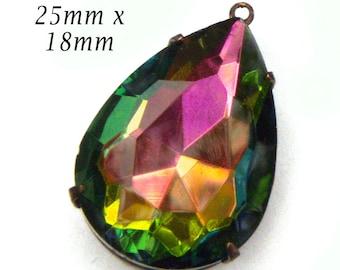 Rainbow Vitrail Glass Pendant, 25mm x 18mm Teardrop, Glass Jewel, Brass Setting, Pear, Glass Bead, Rhinestone Jewel, Cabochon, Glass Gem