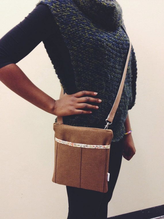 Nina Taylor Brown Mini Crossbody Bag, Brown Crossbody Bag, Messenger Bella Bag, Canvas Messenger Bag