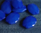 34x24mm Large Translucent Faceted Acrylic Flat Nugget Beads - Cobalt Blue - 16pcs