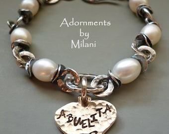 Abuelita Bracelet Abuela Grandma Heart Charm Sterling Silver Pearls Artisan Beaded Sturdy Thick