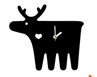 Black Moose Wall Hanging Clock