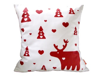 Red Print on White Moose Pillow 13 Inches Square