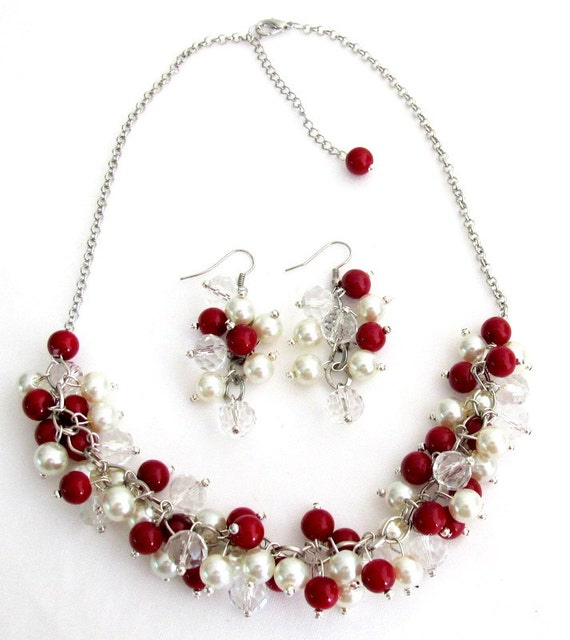 Ivory Red  Cluster Necklace Wedding Jewelry Red Ivory Pearls Christmas Gift Mother GIft Sister Gift Girl Friend Gift  Free Shipping In USA