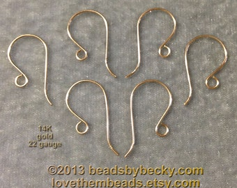 14K Gold Ear Wires, 22 gauge, 14k yellow gold findings supplies French, Shepherd Hook Fish Hooks plain simple earwires real gold solid gold