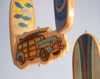 Surfboard Baby Mobile - Baby Blues Longboards - Surf or Beach Baby Nursery