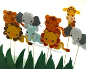 Set of 4 Safari Quest Jungle Animals, Custom Party Topper, Party Favors, Cupcake Topper, Pet Collectible, Baby Shower, Birthday Party Decor