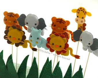 Safari Quest Jungle Animals, Jungle, Zoo Theme Custom Party Topper, Party Favors, Cupcake Topper, Baby Shower Gifts, Birthday Party Decor