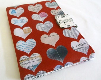 SALE Loves Music Nook HD Cover, Book Style Case with Valentine's Day Hearts and Music Notes