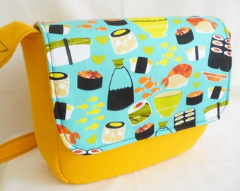 Sushi Messenger Bag Padded Yellow Canvas Kitsch Sushi Print Cotton
