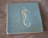 Trivet Handmade Tile with Nautical Beach House Seahorse Design