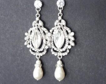Vintage Crystal Bridal Earrings, Chandelier Wedding Earrings, Pearl Drop Bridal Jewelry, Silver Leaves, Athena