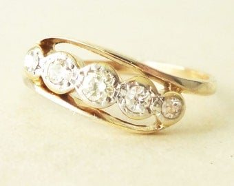 Art Deco Diamond Eternity Ring, 9k Gold  Diamond Engagement Ring Size Approx. US 7.25