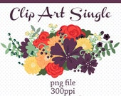 Clip Art Single Fall Flower Bouquet, Digital Art, Digital Download, Digital Scrapbooking, Flowers, Floral Motif, Downloadable Graphic