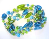 RESERVED Blue green necklace glass fashion lobster claw clasp