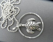 Honu Sea Turltle Sterling Necklace, Charm necklace,  turtle necklace,  silver necklace, sea necklace,  ocean necklace