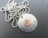 Balance Ohm Yoga Sterling Silver Necklace, Yoga Necklace,Breathe Necklace, Silver Pendant, Ohm Necklace