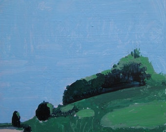 East Hill, 6:50 p.m., Orignal Landscape Painting on Paper, Stooshinoff