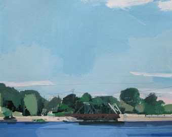 July Blue, Original Landscape Painting on Paper, Stooshinoff