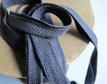 vintage cotton braided binding in blue gray 6 yards