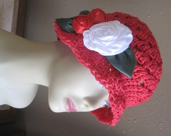 Handcrafted Red Natural Cotton Cloche 1920s Flapper Hat White Roses Warm Holiday