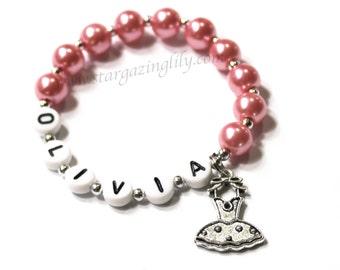 Children's Jewelry Bracelet PERSONALIZED with Ballet Charm Party Favor Infant Child Kid Adult Sizes Pink Pearl Ballet Bracelet Dance Recital