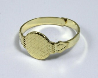 Adjustable Gold Ring Base w/ 10mm Pad #MRA010