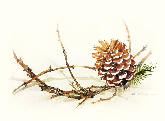 Watercolor painting pine cone with branch by blackteacafe for How to paint pine cones for christmas