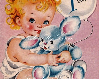 Vintage 1940s Happy Birthday 1 Year Old Greetings Card Digital Download Printable Images (440)