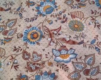 Vintage 1979 MAXIME De La FALAISE Jacobean Fabric Bloomcraft Soil Stain Repeller 2 yds. 4 inches