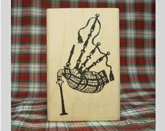 Scottish Highland Bagpipes Rubber Stamp Scotland Tartan Music #309
