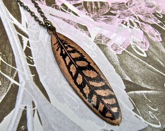 Long Necklace REVERSIBLE with Oblong Feather / Branch Print on Antique Raw Brass