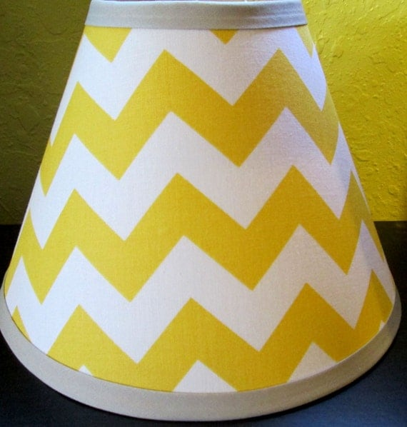 on sale lampshade lamp shade made w yellow and grey gray chevron zig. Black Bedroom Furniture Sets. Home Design Ideas