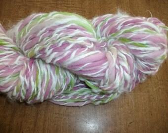 Handspun yarn 100 yds multi color hand dyed angora and merino knitting supplies crochet supplies