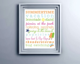 Summer Subway Art Printable Wall Art by BitsyCreations Instant Download