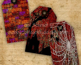 Halloween Tags INSTANT DIGITAL DOWNLOAD Digital Gift Tags Scrapbooking Altered Art Journals Hang Tags