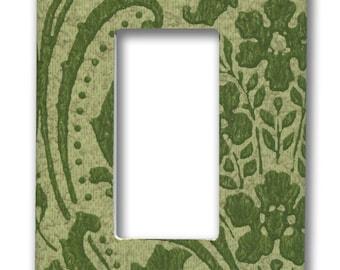 Green Damask Floral Swirl 1960's Vintage Wallpaper Single Decora GFI Plate