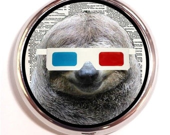 Sloth 3-D Glasses Pill box Pill Case Holder Pillbox Kitsch Hipster Anthropomorphic Animal 3D Kawaii Trinket Box Vitamin or Medicine Box